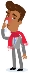 Vector illustration of a sick asian cartoon businessman having a cold and runny nose wearing scarf isolated on white background