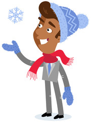 Vector illustration of an asian cartoon businessman wearing winter clothes with snowflake isolated on white background