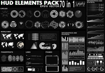 HUD Elements Pack. 70 Elements. Sci Fi Futuristic User Interface. Menu Button. Vector Illustration, HUD interface, infographics, circular Ui set, graphic sensor of the future, sci fi elements pack.
