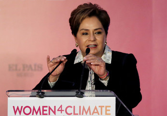 Executive Secretary of the UNFCCC Patricia Espinosa gives a speech during the Women4Climate conference in Mexico City