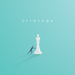 Business strategy vector concept with businessman playing chess. Symbol of vision, competition, negotiation, planning and challenge.