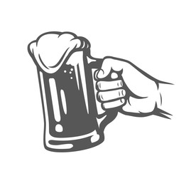 male hand holding beer glass.