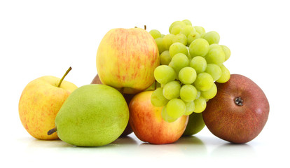 collection of colorful fruits isolated on white
