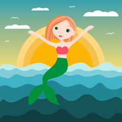 Vector illustration of cute underwater mermaid girl. Fairy fantasy of sea. Isolated character water mythology princess