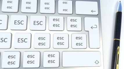 Escape from office and computer job, switch off computer, stop being overworked and tired - symbolized as a computer keyboard with escape keys