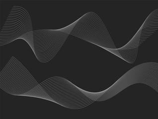 design element many wavy lines black background10