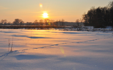 Solar lens flare sunset in winter frozen field landscape.