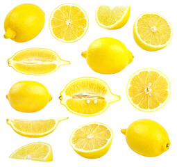 Collection of fresh yellow lemons isolated on white