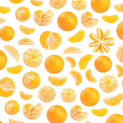 Fresh orange mandarin photographic pattern