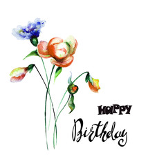 Colorful wild flowers with title Happy Birthday