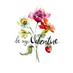 Colorful wild flowers with title be my Valentine