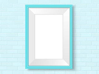 Frame on brick wall blue interior template vector