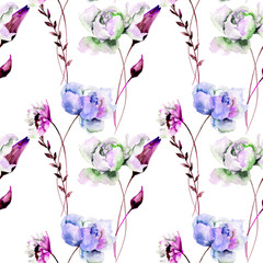 Seamless wallpaper with Gerber and Peony flowers