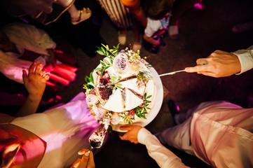 Beautiful delicious white wedding cake