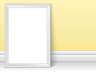 Photoframe realistic mock up vector yellow room wall