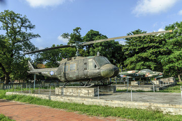 material of the war of Vietnam in a permanent exhibition in a public park in the city of Hue, Vietnam.