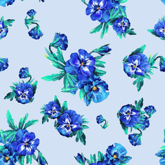 Seamless pattern of watercolor violet flowers.