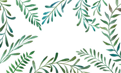 Hand drawn watercolor illustration of olives branches. Decorative graphic elements in frame for wedding branding, invitations, gift card. Isolated on white background. Place for text.