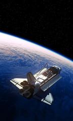 Fotobehang - Space Shuttle Orbiting Planet Earth