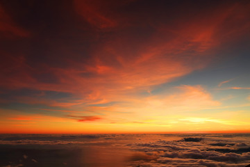 Sunrise over the Atlantic Ocean, seen from Pico volcano (2351m), Pico Island, Azores, Portugal, Europe