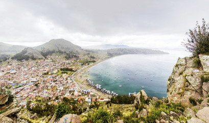 View at town Copacabana on Titicaca lake in Bolivia