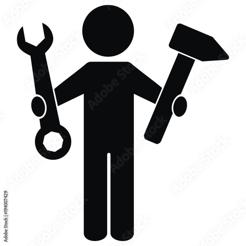 one figure with tool hammer and wrench vector icon black