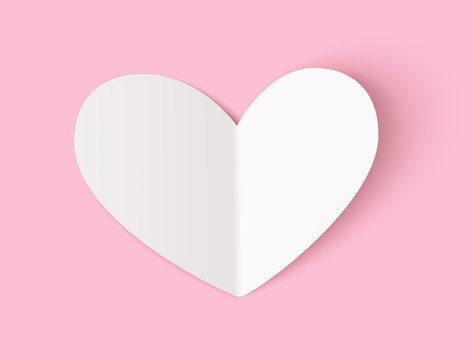 Empty white paper heart with realistic shadow for your design isolated on pink. Vector illustration