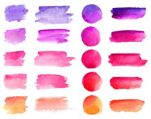 Fototapeta Colorful vector watercolor brush strokes. Rainbow colors watercolor paint stains vector banner backgrounds set obraz