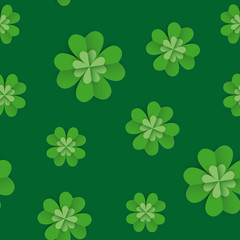 Seamless pattern with clover leaves for St Patrick's Day party. Paper cut style vector illustration. Green and white colours