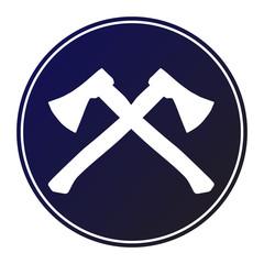 Circular, dark blue gradient crossed hatchet/axe (white silhouette) icon. Isolated on white