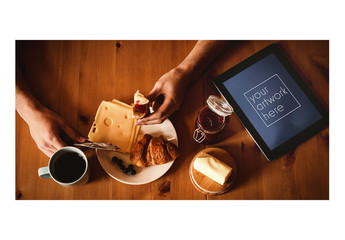 Tablet User Eating Breakfast Food Mockup 1