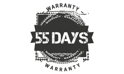 55 days warranty icon vintage rubber stamp guarantee