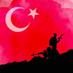 Turkish flag with solider siluette