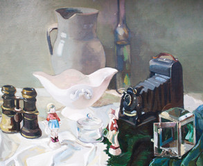 Still life with antique objects. Canvas, oil.