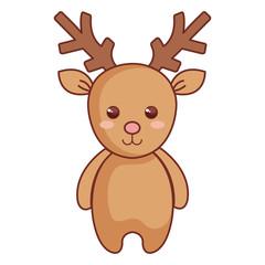 cute reindeer christmas character vector illustration design