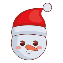 cute snowman head christmas character vector illustration design
