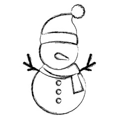 cute snowman christmas character vector illustration design