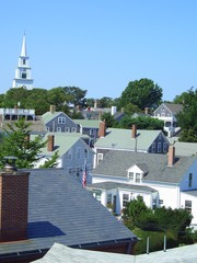 Church tower over wooden building in Nantucket, Massachusetts, New England, USA