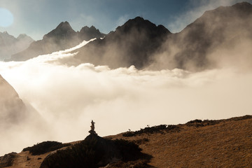 mountains in Himalayas, Nepal, on the hiking trail leading to the Everest base camp.