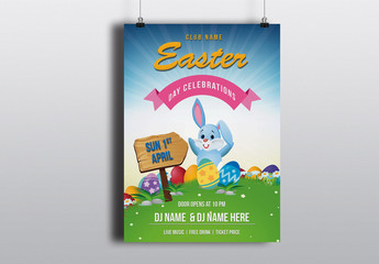 Easter Party Invitation Flyer with Bunny Graphic