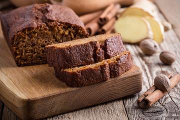 Healthy vegan pumpkin cake with ingredients