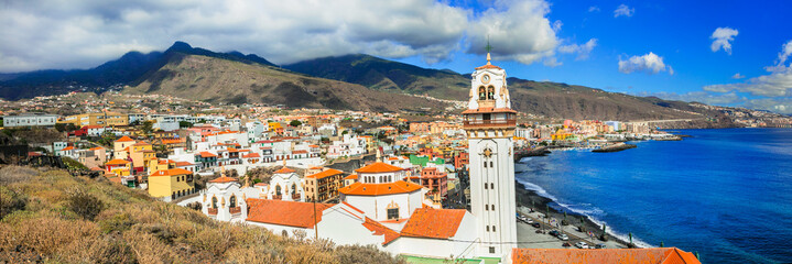 Tenerife - view of Candelaria town with famous basilica, Canary islands