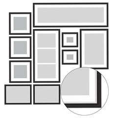 Set of blank black frames for photos, vector illustration