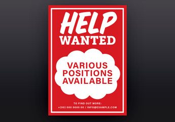 Red and White Help Wanted Poster Layout 1