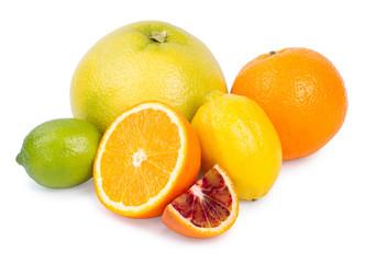 Isolated citrus fruits. Grapefruit, orange, lemon and lime isola