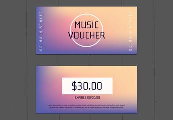 Purple-to-Orange Gradient Music Voucher Layout 1