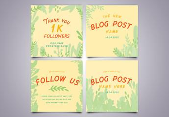 Leaf Border Social Media Posts Layout Set 1