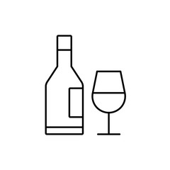 alcohol bottle with glass line vector icon on white background
