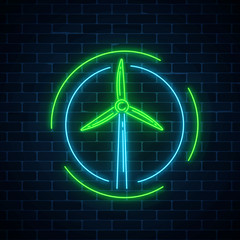 Glowing neon sign of windmill in circle frames on dark brick wall background. Wind power generation concept.
