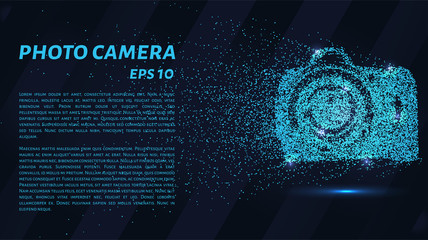 The camera of the particles. Photo camera consists of small circles. Vector illustration